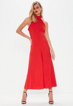 Red High Neck Palazzo Jumpsuit