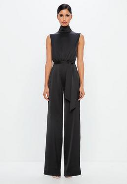 Peace + Love Black Satin High Neck Belted Jumpsuit