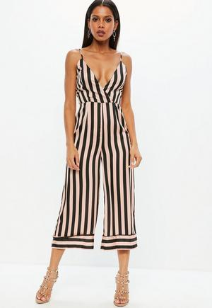 3c3eeca5c1 Red Stripe Floral Mix Cowl Neck Culotte Jumpsuit