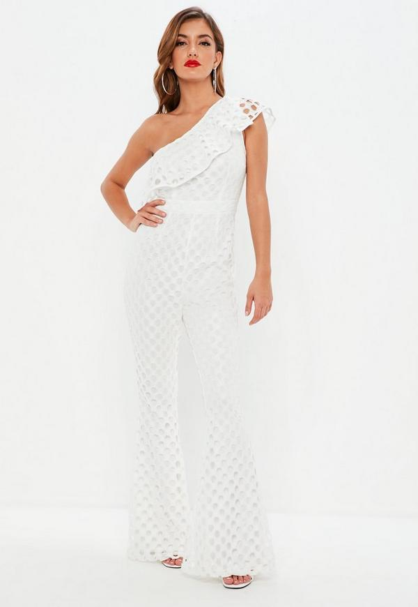 d4d056b973f7 White One Shoulder Open Lace Jumpsuit