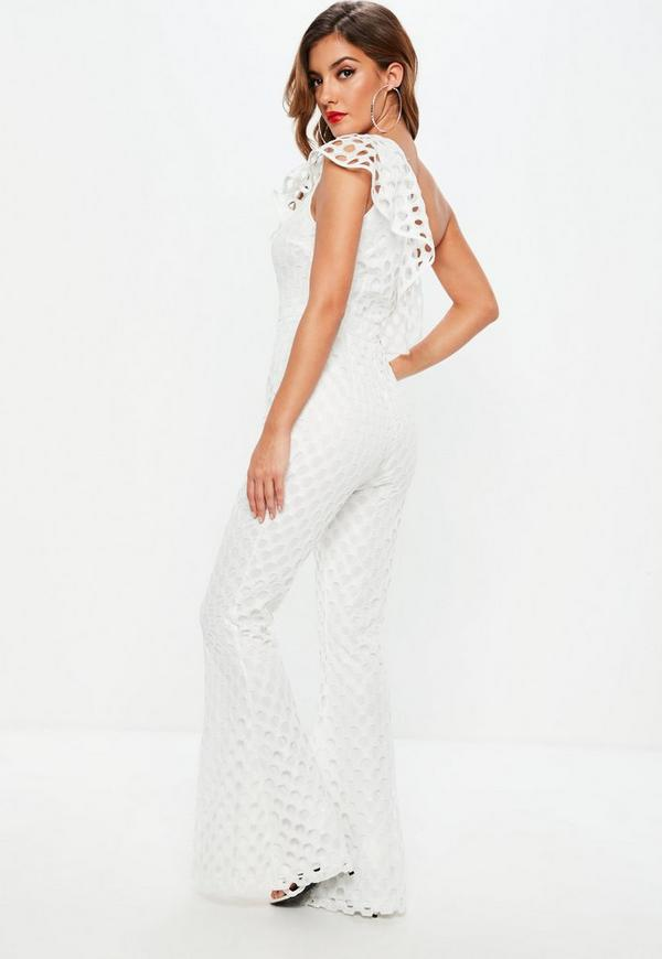 32d377655e80 White One Shoulder Open Lace Jumpsuit. Previous Next