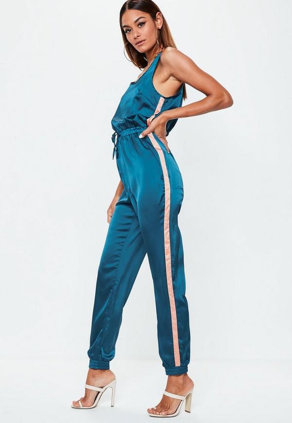 Blue Sport Side Stripe Satin Jumpsuit by Missguided
