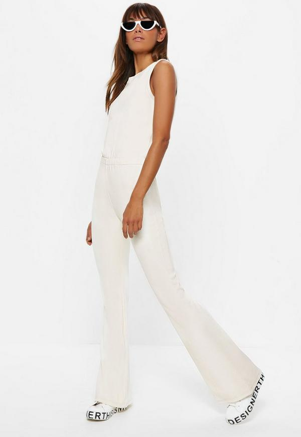 Ivory Ribbed Flare Leg Sleeveless Jumpsuit by Missguided