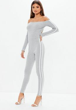 Grey Marl Side Stripe Bardot Jumpsuit