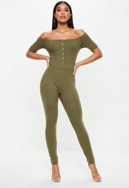 Khaki Popper Front Bardot Jumpsuit