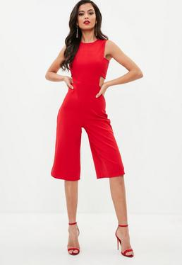 Red Side Tab Culotte Jumpsuit