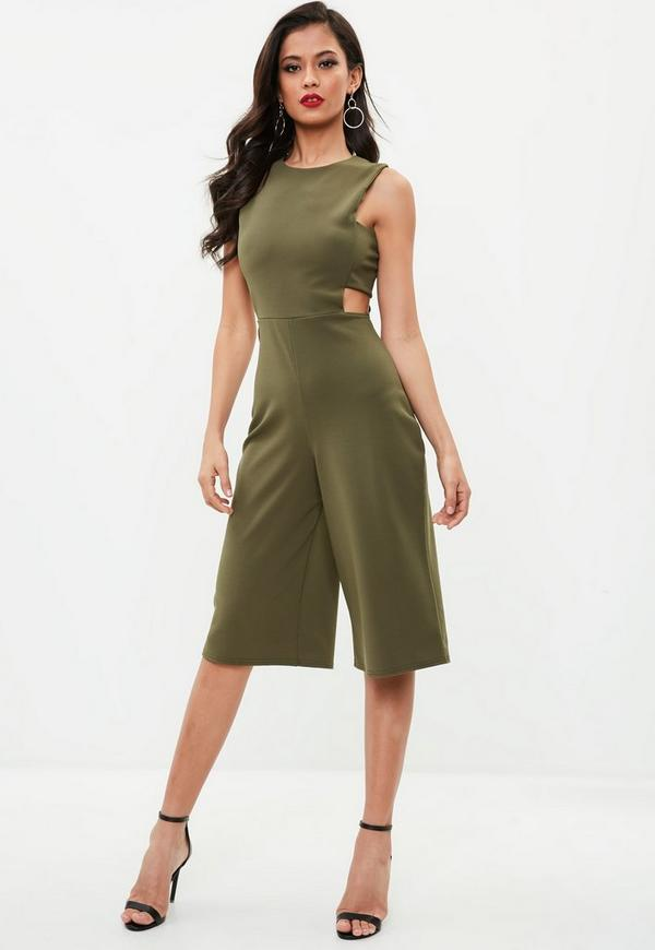 khaki side tab culotte jumpsuit missguided. Black Bedroom Furniture Sets. Home Design Ideas