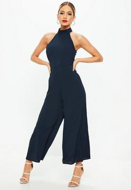 Navy High Neck Palazzo Jumpsuit