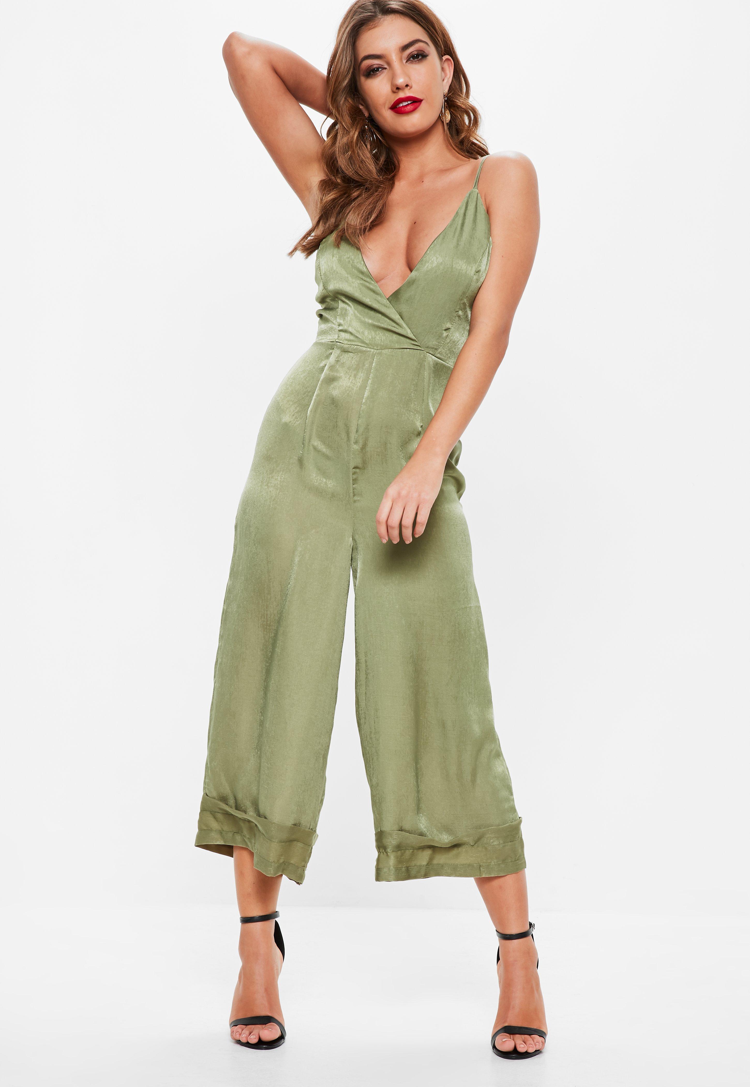 fd690d8c1818 Khaki Cami Deep Cuff Culotte Jumpsuit