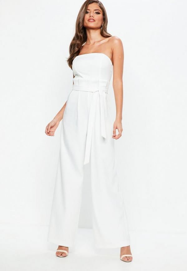 Ivory Bandeau Paper Bag Waist Wide Leg Jumpsuit by Missguided