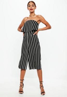 Black Bandeau Stripe Culotte Jumpsuit