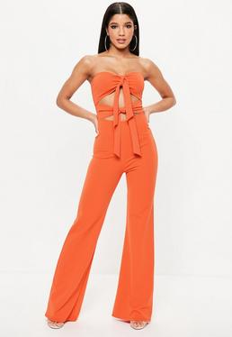 Orange Tie Front Jumpsuit