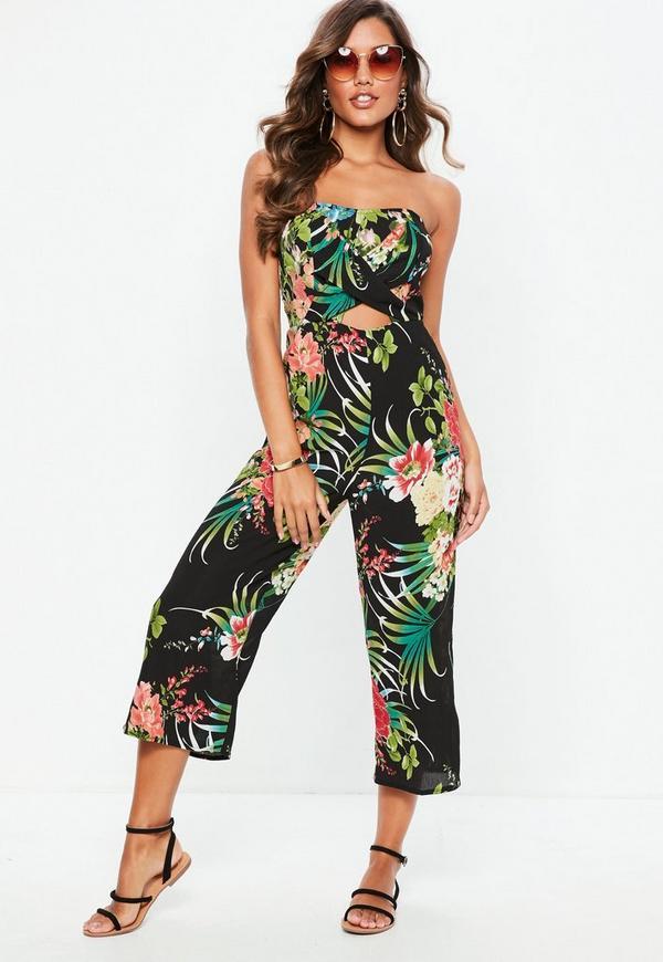 e35a555b073e ... Black Floral Bandeau Culotte Jumpsuit. Previous Next