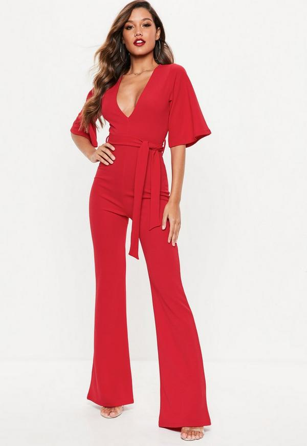 9bf11a6b60fd Red Kimono Sleeve Plunge Jumpsuit