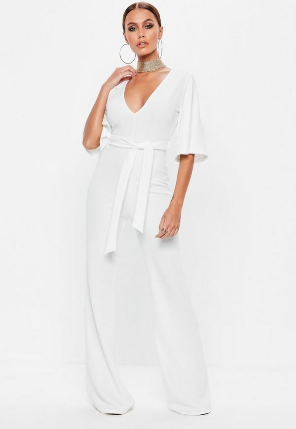 e2b05bd67860 White Plunge Kimono Sleeve Jumpsuit