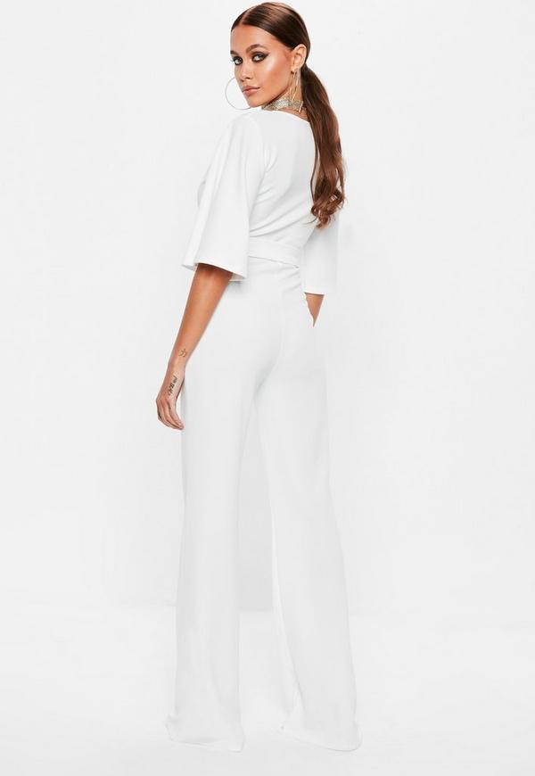 618d8444fee White Plunge Kimono Sleeve Jumpsuit. Previous Next