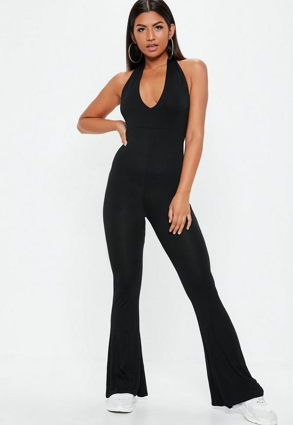 Black Halter Jersey Flare Leg Jumpsuit by Missguided