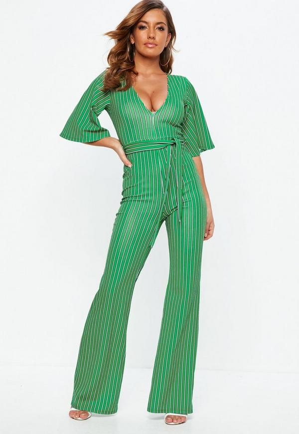e2be12761d4 Green Stripe Plunge Kimono Stripe Sleeve Jumpsuit