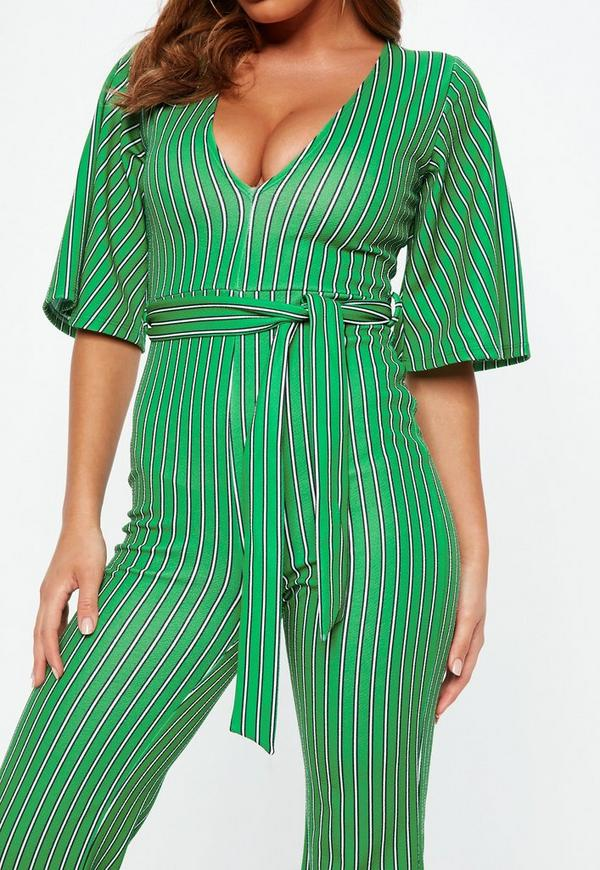 b361716c0a4 Green Stripe Plunge Kimono Stripe Sleeve Jumpsuit. Previous Next