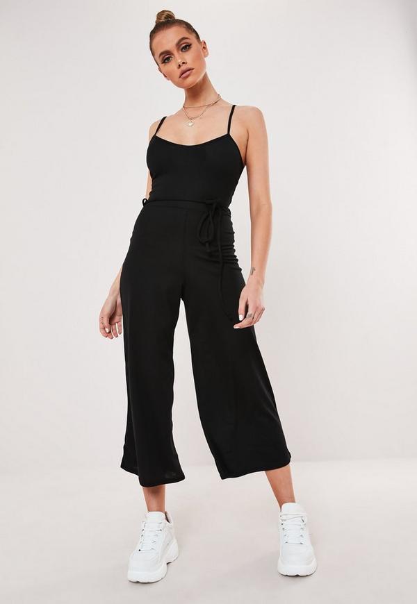 f5772be55be9 Black Rib Cami Culotte Jumpsuit