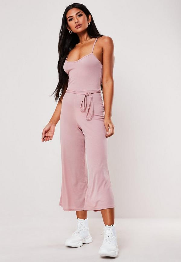 58a0b15bc90e Pink Rib Cami Culotte Jumpsuit