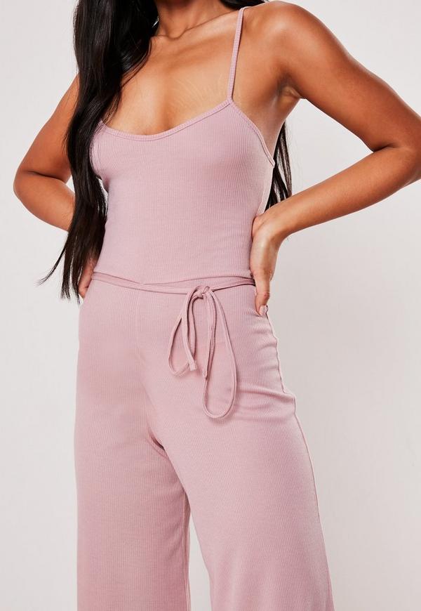 3a4cb0c37411 Pink Rib Cami Culotte Jumpsuit. Previous Next