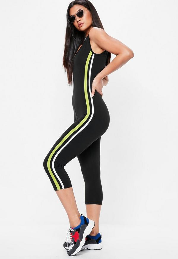 Black Side Stripe Jersey Unitard Jumpsuit by Missguided