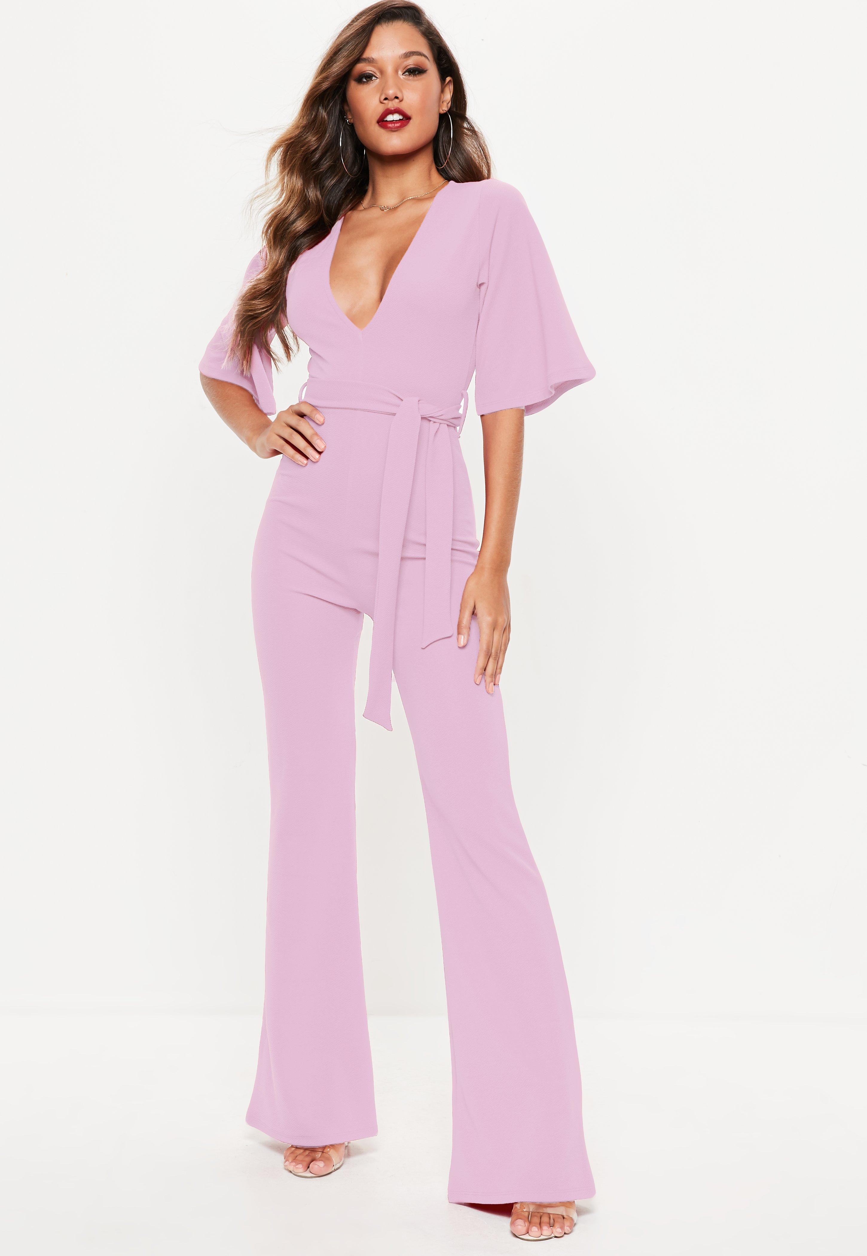 Missguided Lilac Plunge Kimono Sleeve Jumpsuit Cheap Perfect 6xyAJLI6