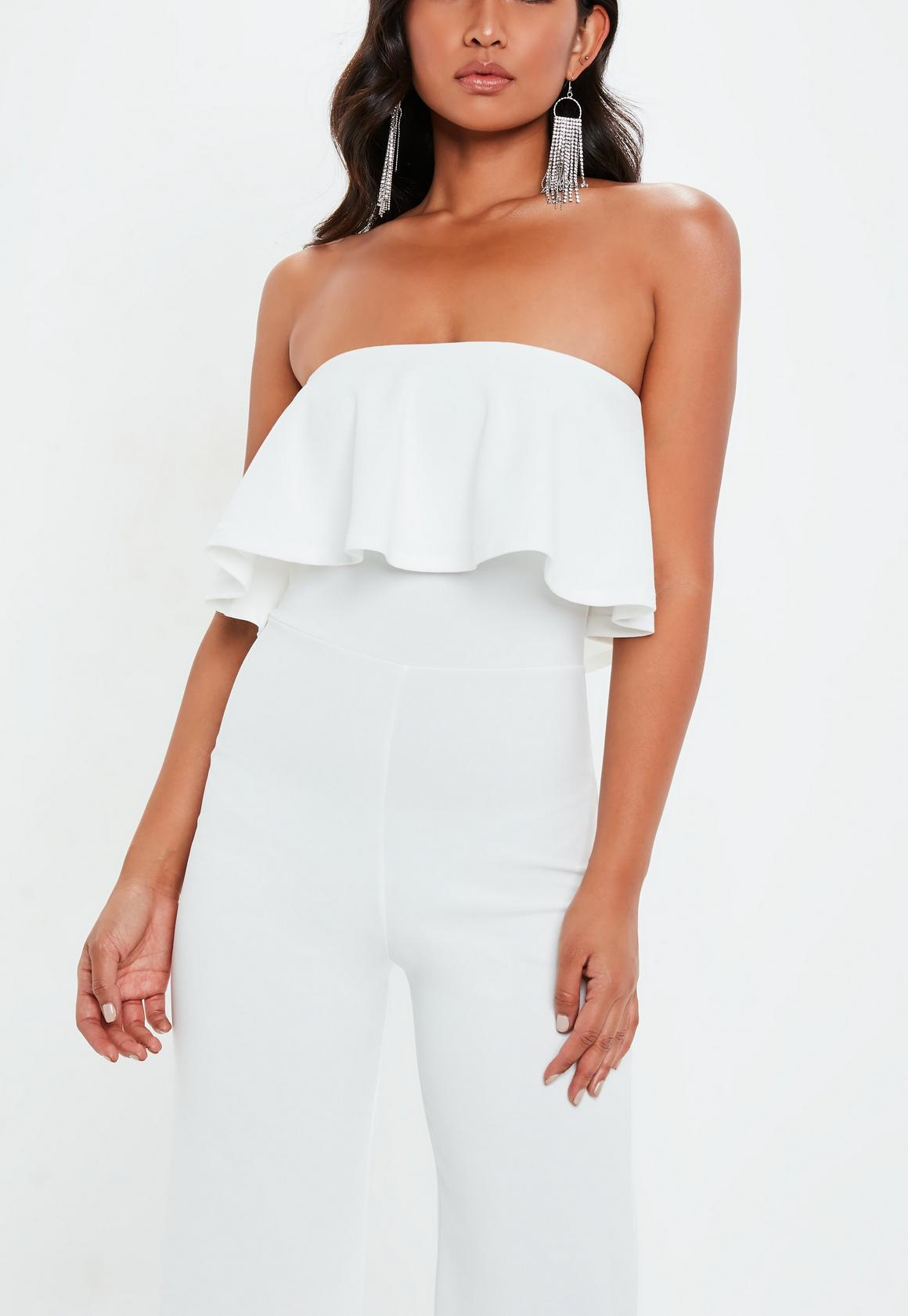 658b7f540fc Missguided - White Bandeau Double Layer Jumpsuit