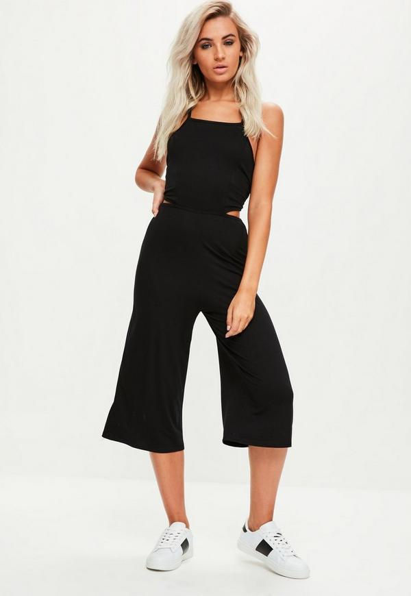 e2d141ec6a7 Black Jersey Tie Back Cut Out Culotte Jumpsuit. Previous Next
