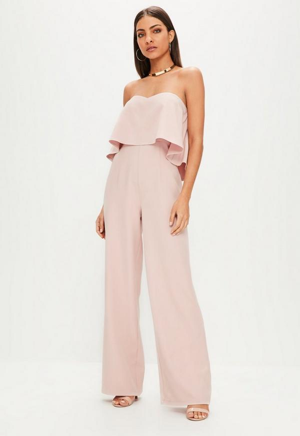 d28b152b659e Nude Double Layer Bandeau Wide Leg Jumpsuit. Previous Next