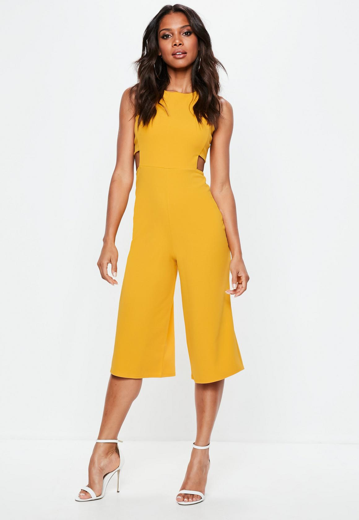 b367e6f1d60c Missguided Yellow Tab Side Culotte Jumpsuit, Yellow at £25 | love ...