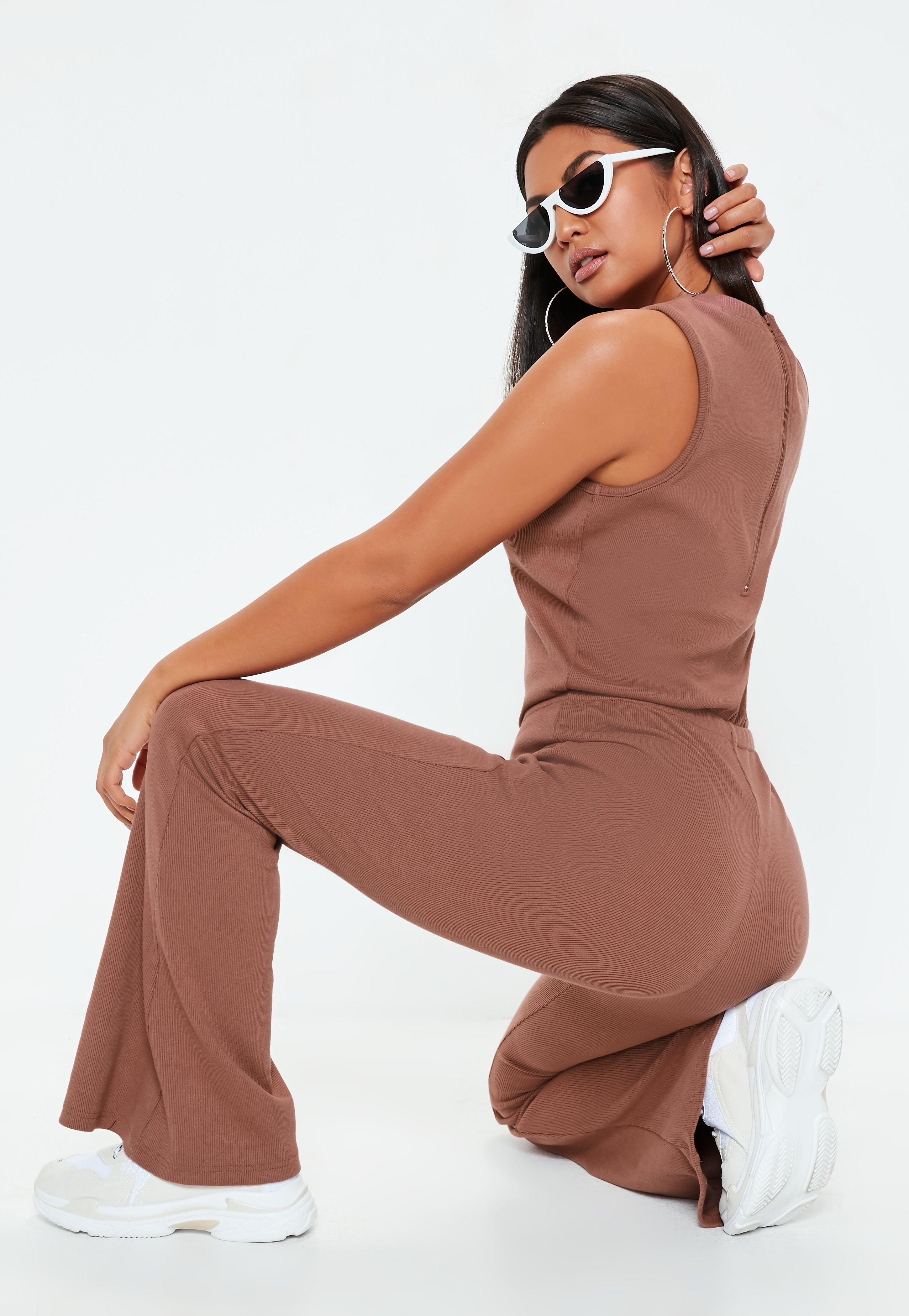 Missguided Mocha Ribbed Flare Sleeveless Jumpsuit Clearance Clearance Store SobFoCU