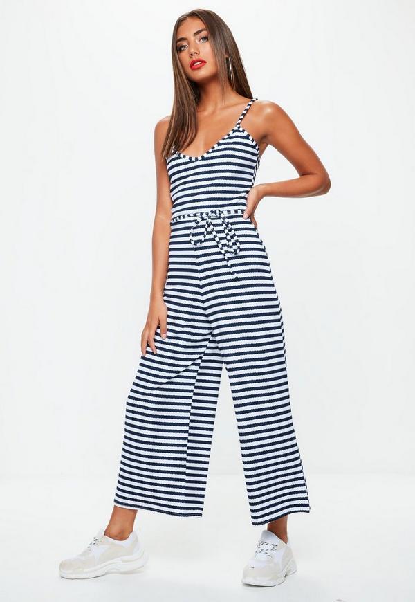1c77dc8ccdb stripe-print-ribbed-culotte-jumpsuit by missguided