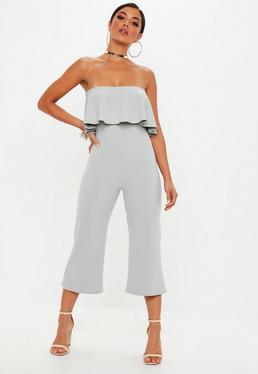 333addea3d0 Grey Double Layer Culotte Jumpsuit