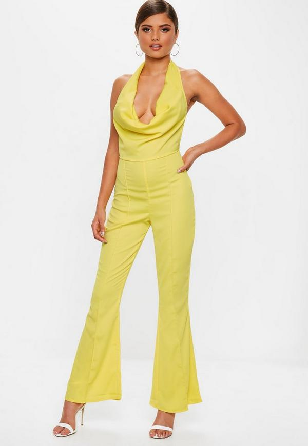 84baaeb6d362 Yellow Satin Cowl Jumpsuit