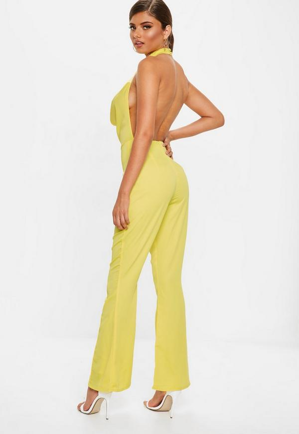 47b85896f8f3 Yellow Satin Cowl Jumpsuit. Previous Next