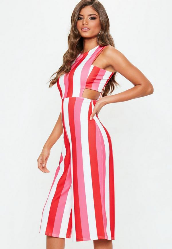 b02273655a6f Pink Tab Side Stripe Jumpsuit