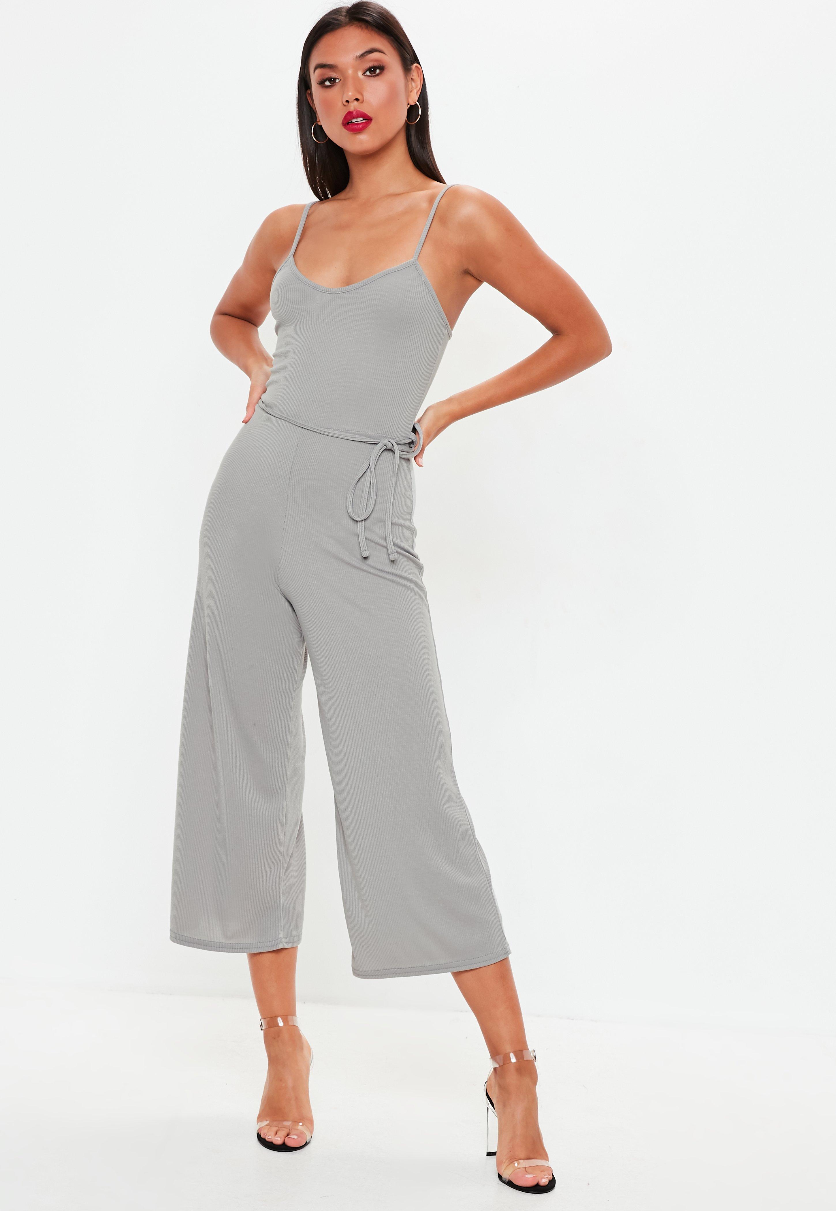 22877a5b1ff1 Grey Rib Cami Culotte Jumpsuit