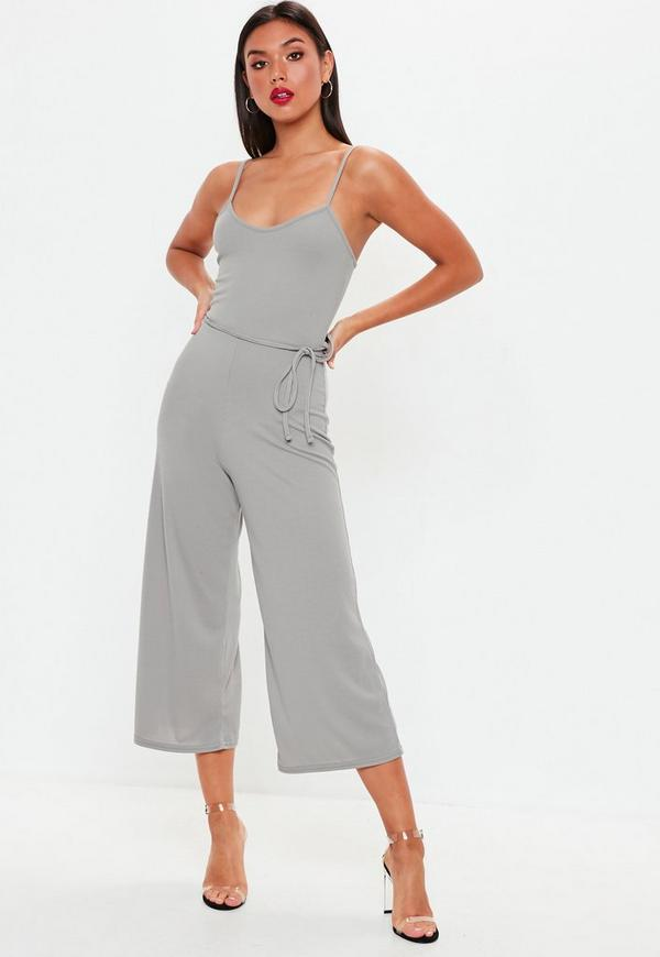 cf9e80c4a10a Grey Rib Cami Culotte Jumpsuit