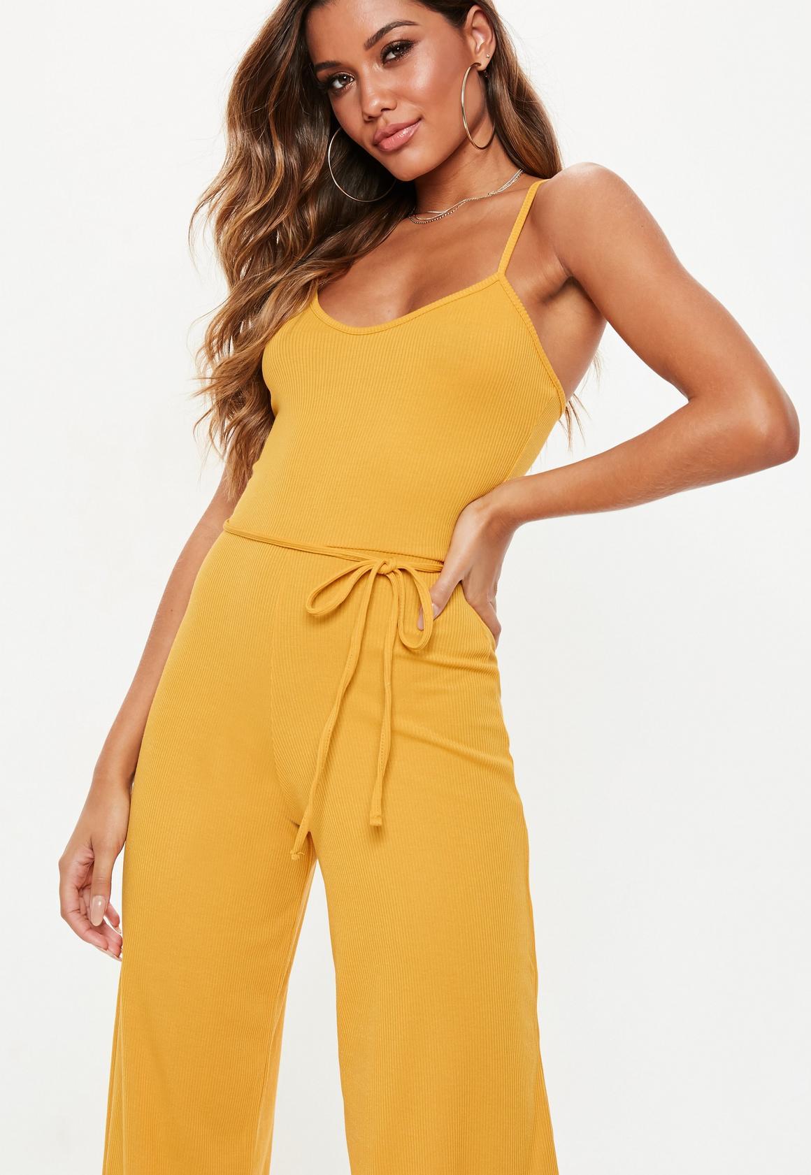 e9ea50651e Missguided - Yellow Rib Culotte Jumpsuit