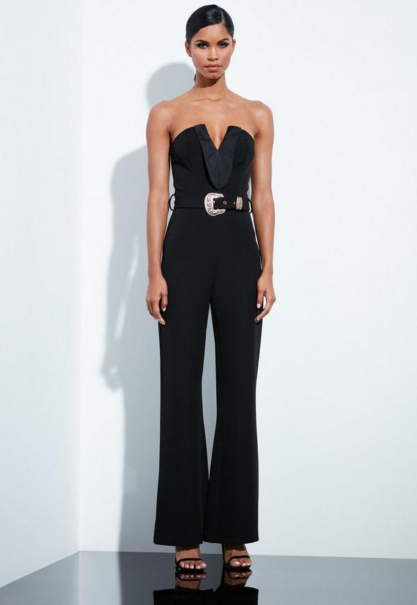 916875153a6b Peace + Love Black Plunge Gold Belted Jumpsuit