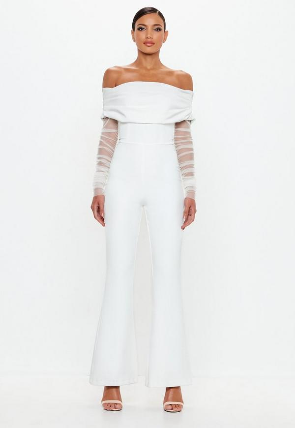 6a703b722ab2 Peace + Love White Bardot Flare Leg Jumpsuit