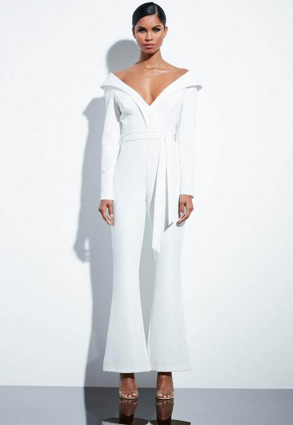 1f113a2a3c48 Peace + Love White Bardot Flared Jumpsuit