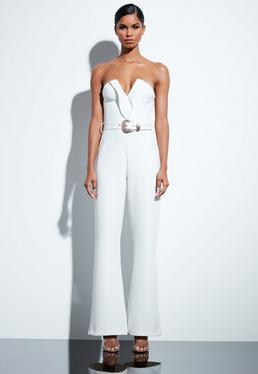 d8cc46da48e Peace + Love White Plunge Gold Belted Jumpsuit