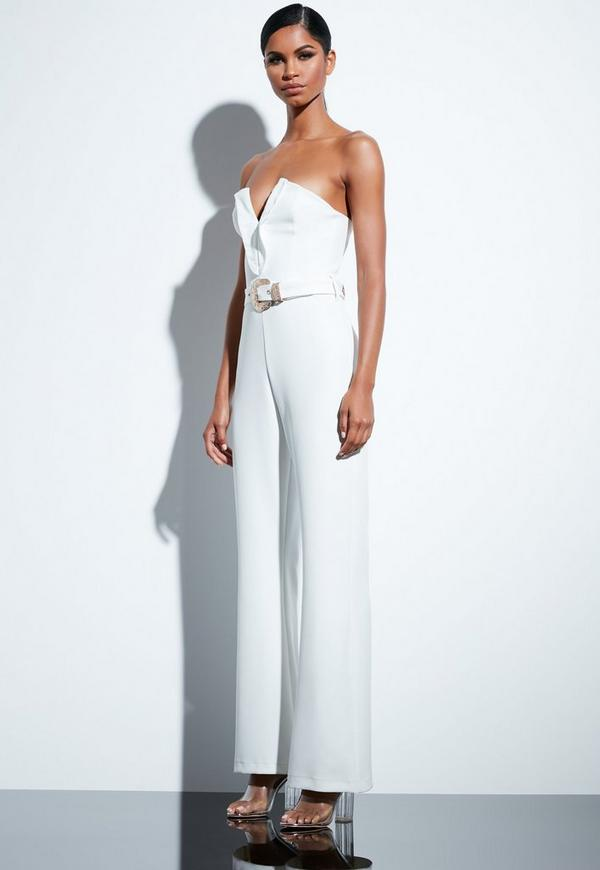 Peace Love White Plunge Gold Belted Jumpsuit Missguided Ireland