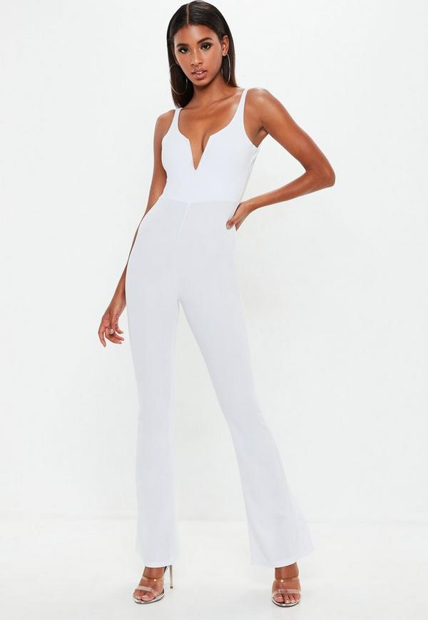 5bbf718ee54 White V Bar Flared Jumpsuit. Previous Next
