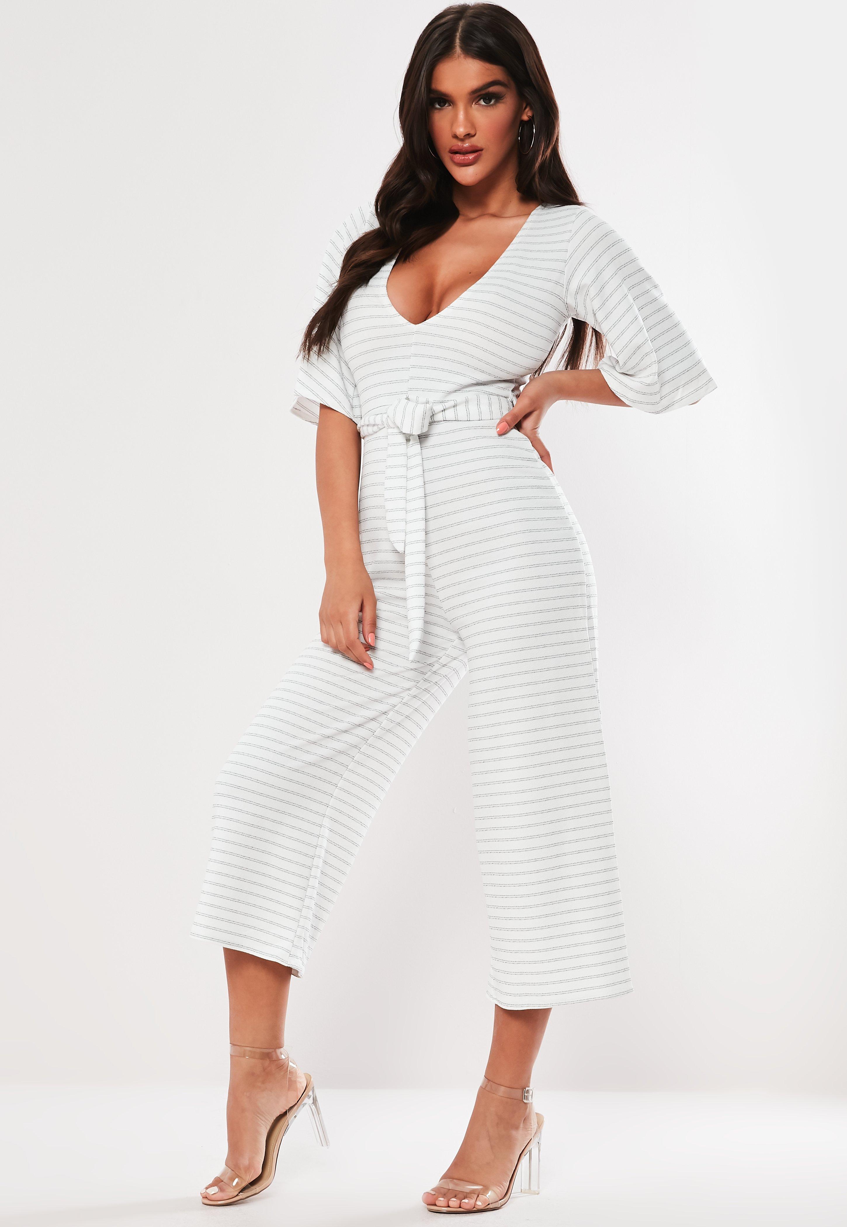 515884929e0 White Stripe Kimono Sleeve Culotte Jumpsuit