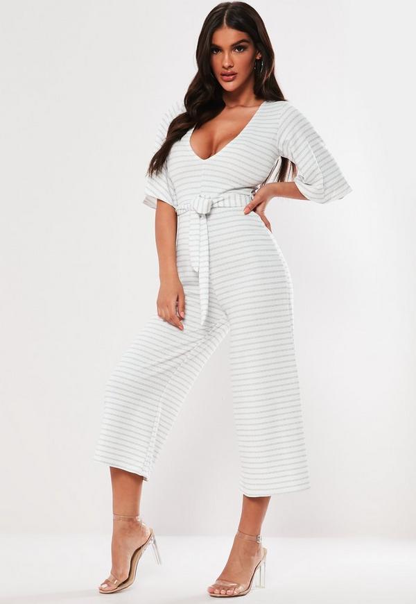 afed2492bfe1 White Stripe Kimono Sleeve Culotte Jumpsuit