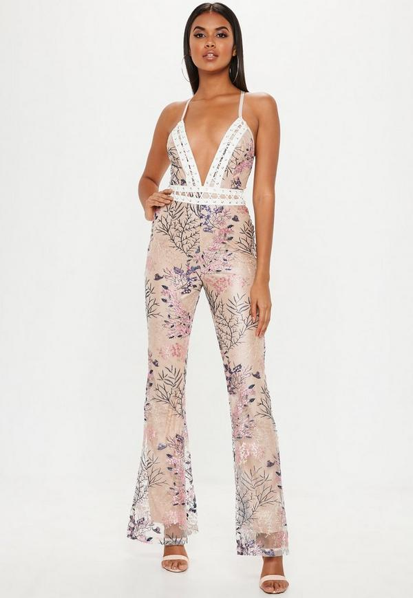 39862a693169 Pink Embroidered Mesh Ladder Jumpsuit